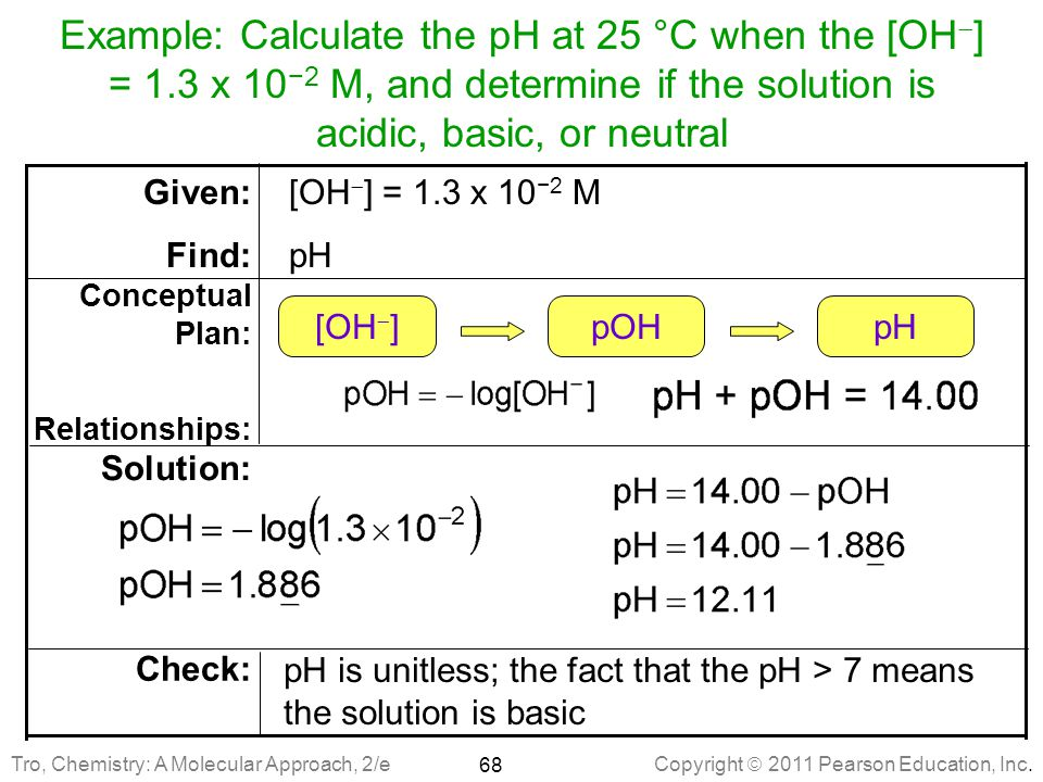 Example: Calculate the pH at 25 °C when the [OH] = 1